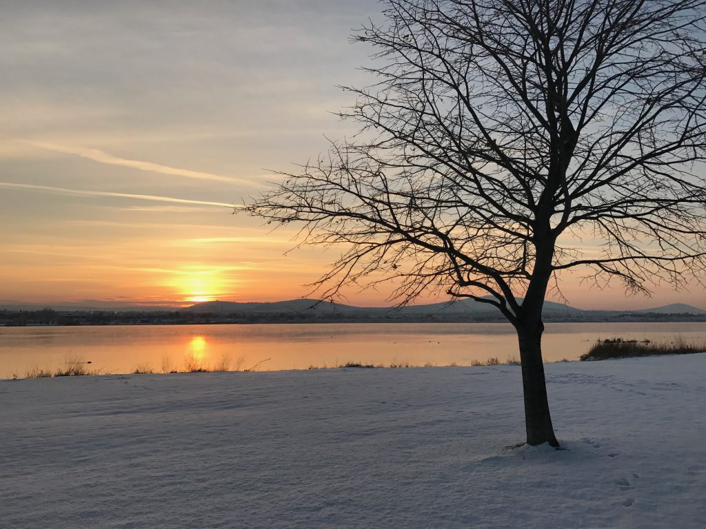 The Columbia River in the snow